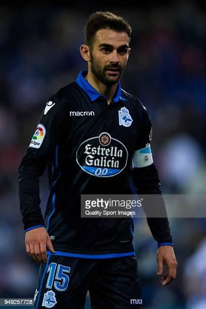 Adrian Lopez of Deportivo La Coruna looks on during the La Liga match between Leganes and Deportivo La Coruna at Estadio Municipal de Butarque on...