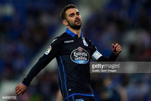 Adrian Lopez of Deportivo La Coruna reacts during the La Liga match between Leganes and Deportivo La Coruna at Estadio Municipal de Butarque on April...