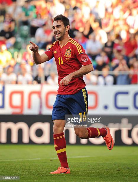 Adrian Lopez of Spain celebrates after scoring during the international friendly match between Spain and Serbia on May 26 2012 in St Gallen...