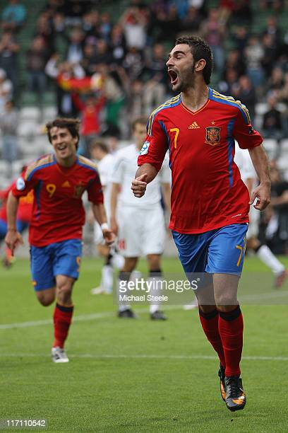 Adrian Lopez of Spain celebrates scoring his second goal during the UEFA European Under21 Championship semifinal match between Belarus and Spain at...