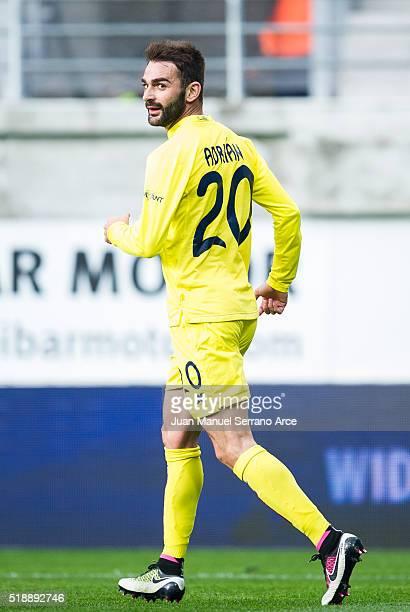 Adrian Lopez of Villarreal CF celebrates after scoring goal during the La Liga match between SD Eibar and Villarreal CF at Ipurua Municipal Stadium...