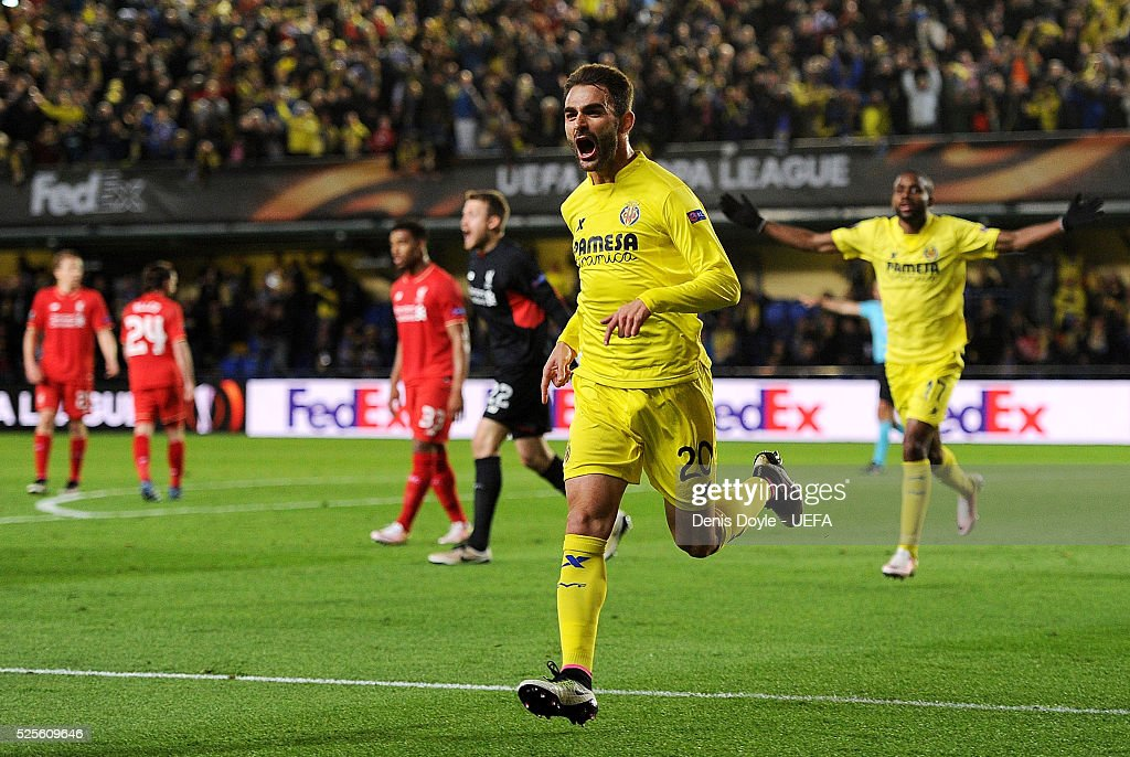 Adrian Lopez of Villarreal CF celebrates scoring his team's opening goal during the Europa League Semi Final first leg match between Villarreal CF and Liverpool at El Madrigal stadium on April 28, 2016 in Villarreal, Spain.