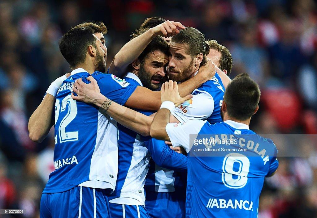 Adrian Lopezof RC Deportivo La Coruna celebrates after scoring a goal during the La Liga match between Athletic Club Bilbao and RC Deportivo La Coruna at San Mames Stadium on April 14, 2018 in Bilbao, Spain.
