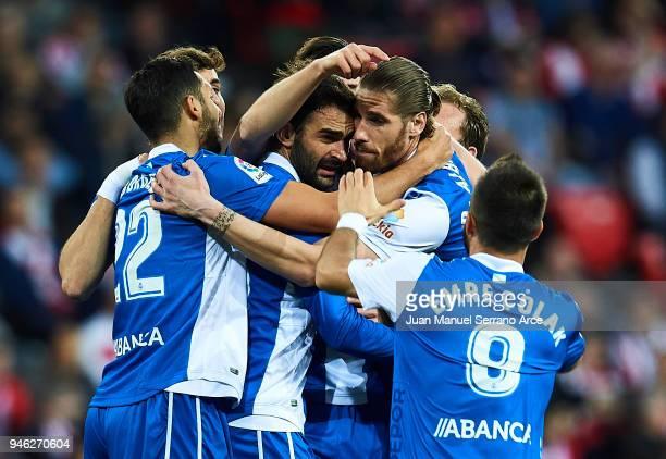 Adrian Lopezof RC Deportivo La Coruna celebrates after scoring a goal during the La Liga match between Athletic Club Bilbao and RC Deportivo La...