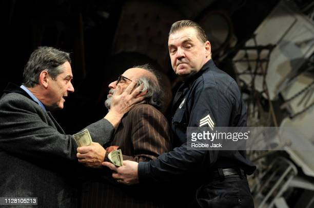 Adrian Lukis as Walter Franz David Suchet as Gregory Solomon and Brendan Coyle as Victor Franz in in Theatre Royal Bath's production of Arthur...