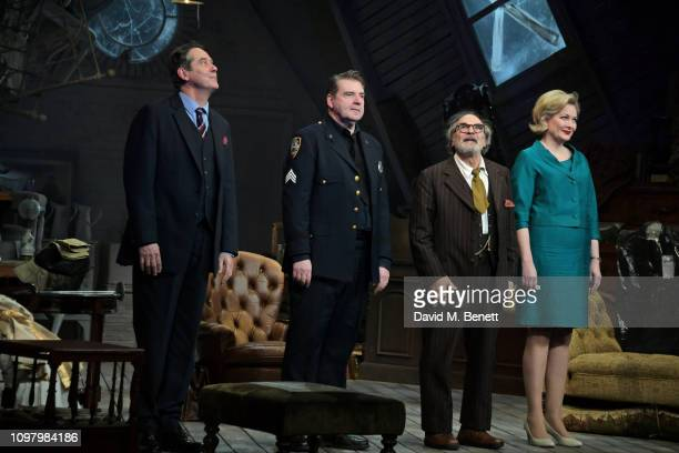 Adrian Lukis Brendan Coyle David Suchet and Sara Stewart bow at the curtain call during a press night performance of The Price at Wyndhams Theatre on...
