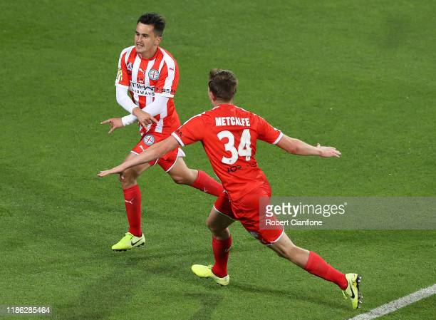 Adrian Luna of the Melbourne City celebrates after scoring a goal during the round five ALeague match between Melbourne City and the Central Coast...