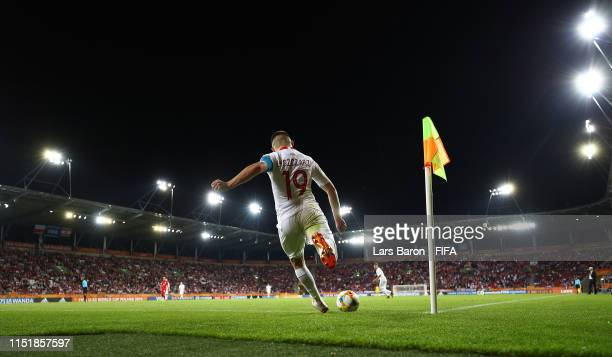 Adrian Lyszczarz of Poland takes a corner during the 2019 FIFA U-20 World Cup group A match between Poland and Tahiti at Lodz Stadium on May 26, 2019...