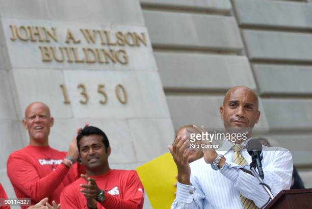 Adrian M Fenty speaks during a press conference outside the John A Wilson building as he presents the Washington Kastles tennis team a key to the...