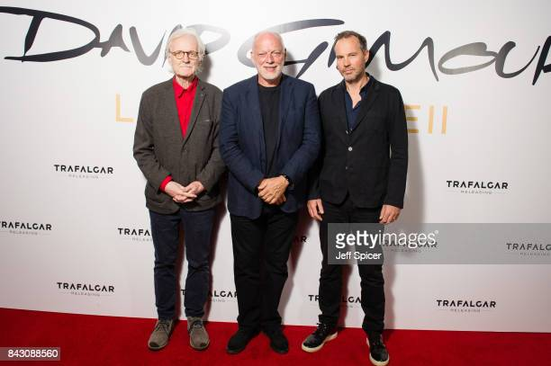 Adrian Maben David Gilmour and Gavin Elder arrive for the David Gilmour 'Live At Pompeii' premiere screening at Vue West End on September 5 2017 in...