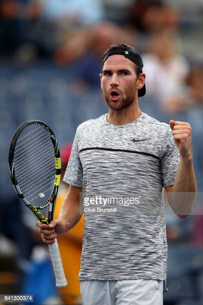 Adrian Mannarino of France celebrates after defeating Bjorn Fratangelo of the United States during their second round Men's Singles match on Day Four...