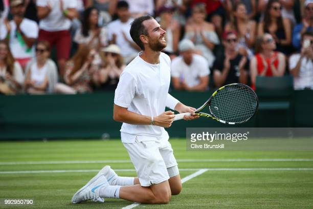 Adrian Mannarino of France celebrates after defeating Daniil Medvedev of Russia in their Men's Singles third round match on day five of the Wimbledon...