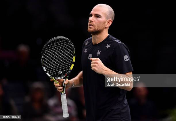 Adrian Mannarino of France celebrates winning against Ugo Humbert of France during Day 1 of the Rolex Paris Masters on October 29 2018 in Paris France
