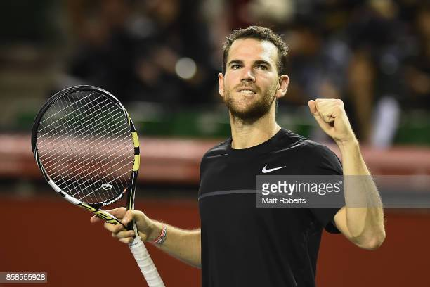 Adrian Mannarino of France celebrates winning his semi final match against Marin Cilic of Coratia during day six of the Rakuten Open at Ariake...