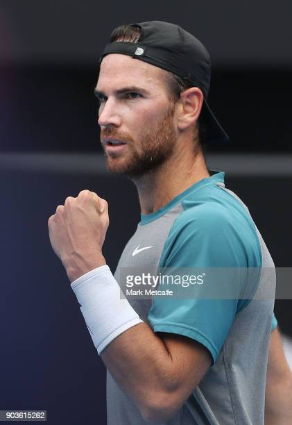 Adrian Mannarino of France celebrates winning set point in his quarter final match against Fabio Fognini of Italy during day five of the 2018 Sydney...