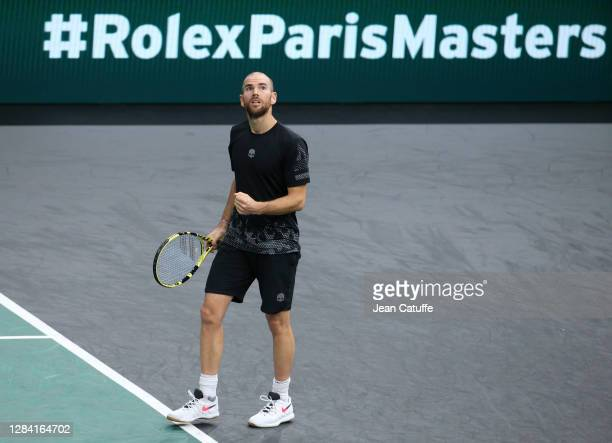 Adrian Mannarino of France during day 4 of the Rolex Paris Masters, an ATP Masters 1000 tournament held behind closed doors at AccorHotels Arena...