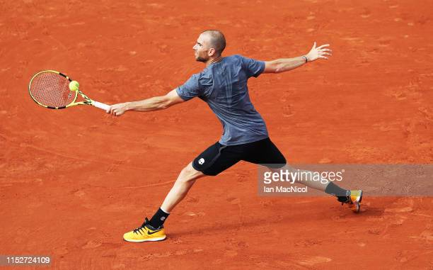 Adrian Mannarino of France is seen in action in the Men's second round match against Gael Monfrils of France during Day Five of the 2019 French Open...
