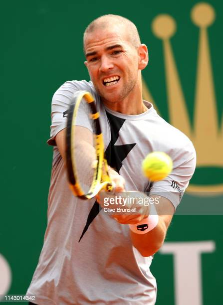 Adrian Mannarino of France plays a backhand against Cameron Norrie of Great Britain in their first round match during day 3 of the Rolex MonteCarlo...