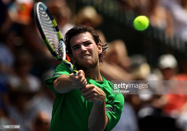 Adrian Mannarino of France plays a backhand during his match against Nicolas Almagro of Spain on day four of the Heineken Open at the ASB Tennis...