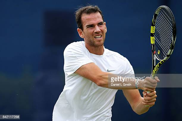 Adrian Mannarino of France plays a backhand during his men's singles match against Andreas Seppi of Italy during day three of the ATP Aegon Open...