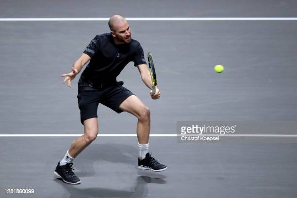 Adrian Mannarino of France plays a backhand during the match between Alexander Zverev of Germany and Adrian Mannarino of France of day five of the...
