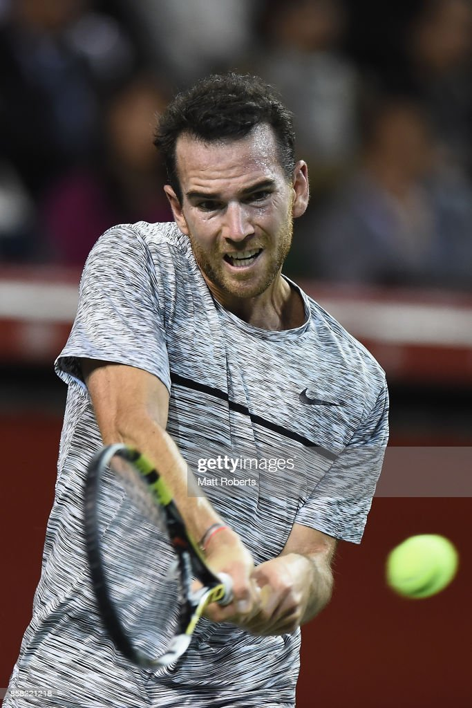 Adrian Mannarino of France plays a backhand in his quarterfinal match against Yuichi Sugita of Japan during day five of the Rakuten Open at Ariake Coliseum on October 6, 2017 in Tokyo, Japan.