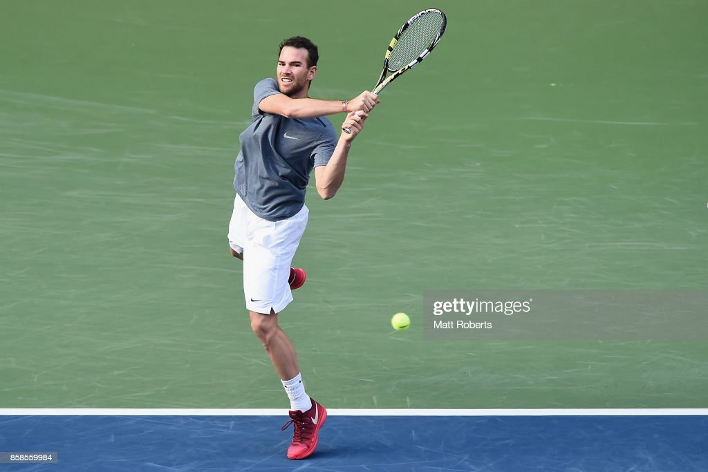 Adrian Mannarino of France plays a backhand in his semi final match against Marin Cilic of Coratia during day six of the Rakuten Open at Ariake Coliseum on October 7, 2017 in Tokyo, Japan.