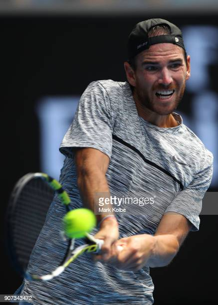 Adrian Mannarino of France plays a backhand in his third round match against Dominic Thiem of Austria on day six of the 2018 Australian Open at...