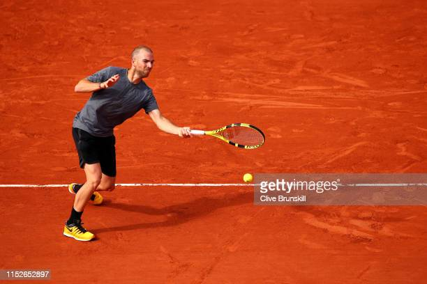Adrian Mannarino of France plays a forehand during his mens singles second round match against Gael Monfils of France during Day five of the 2019...