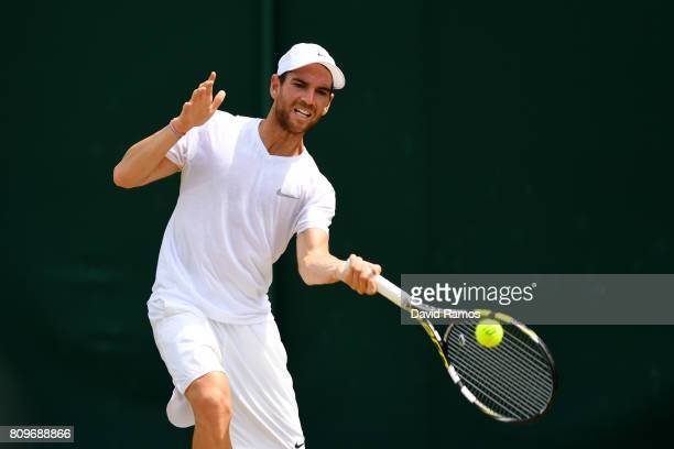 Adrian Mannarino of France plays a forehand during the Gentlemen's Singles second round match against Yuichi Sugita of Japan on day four of the...