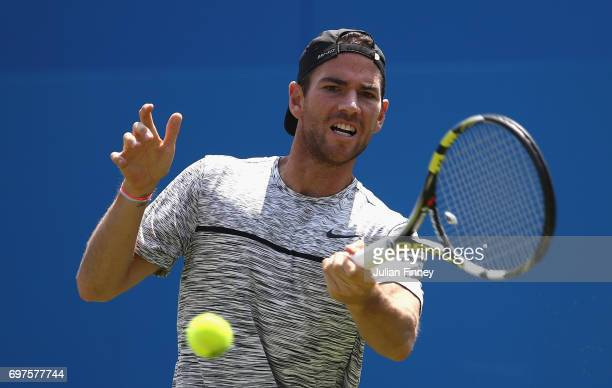 Adrian Mannarino of France plays a forehand during the mens singles first round match against JoWilfried Tsonga of France during day one of the 2017...