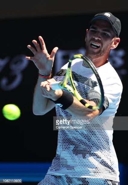 Adrian Mannarino of France plays a forehand in his first round match against Kevin Anderson of South Africa during day one of the 2019 Australian...