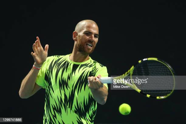 Adrian Mannarino of France plays a forehand in his match against Mikael Ymer of Sweden during day one of the ATP 250 Murray River Open at Melbourne...