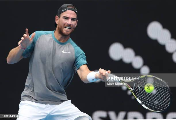 Adrian Mannarino of France plays a forehand in his quarter final match against Fabio Fognini of Italy during day five of the 2018 Sydney...