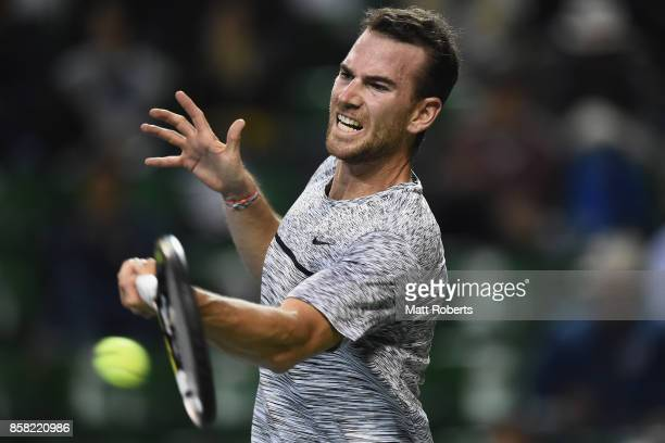 Adrian Mannarino of France plays a forehand in his quarterfinal match against Yuichi Sugita of Japan during day five of the Rakuten Open at Ariake...