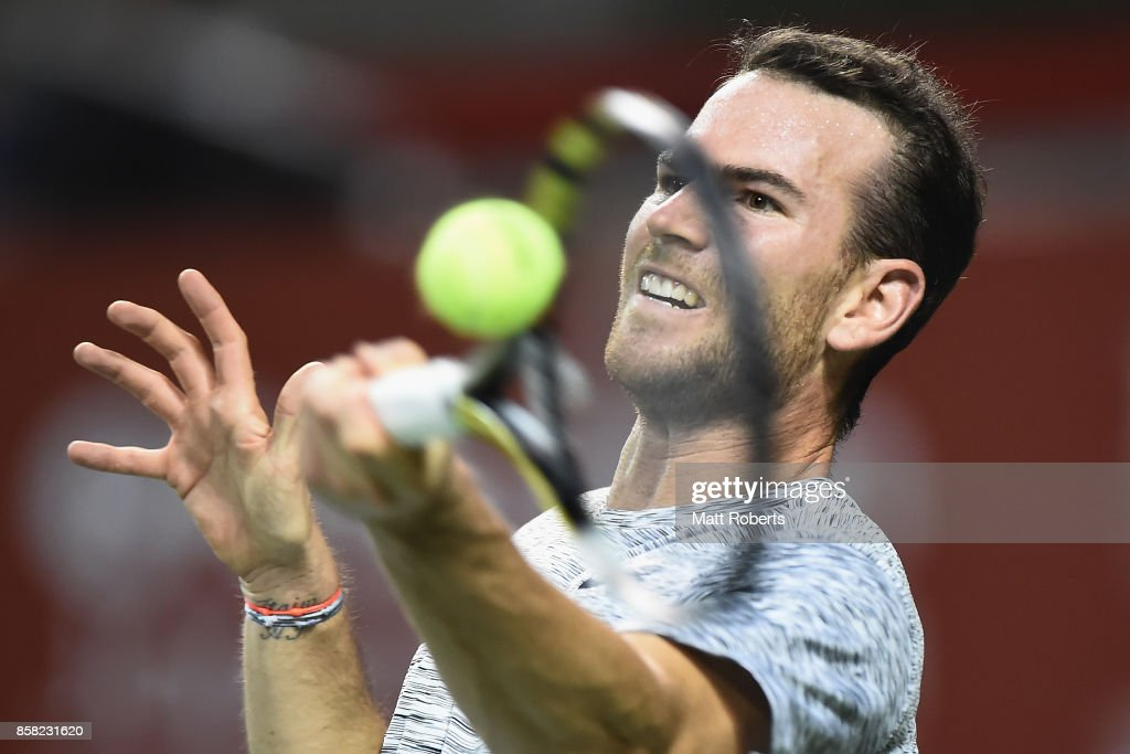 Adrian Mannarino of France plays a forehand in his quarterfinal match against Yuichi Sugita of Japan during day five of the Rakuten Open at Ariake Coliseum on October 6, 2017 in Tokyo, Japan.