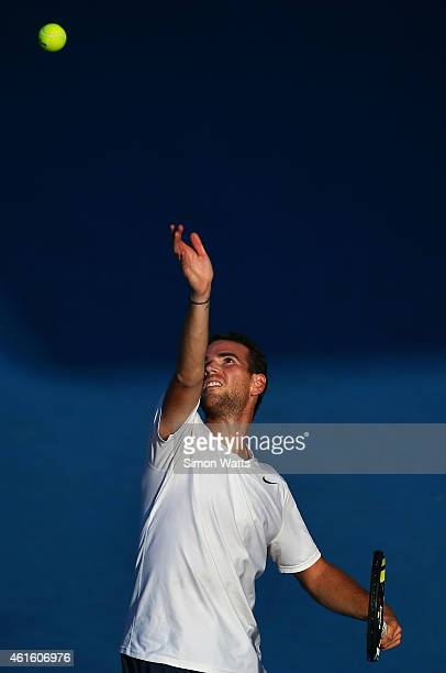 Adrian Mannarino of France plays a shot during his semifinal match against Lucas Pouille of France during day six of the 2015 Heineken Open Classic...