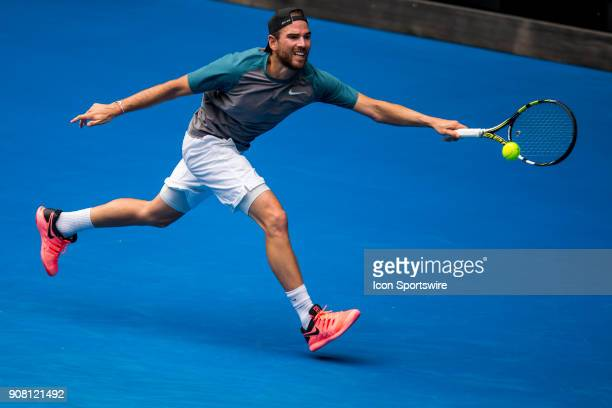Adrian Mannarino of France plays a shot in his third round match during the 2018 Australian Open on January 20 at Melbourne Park Tennis Centre in...