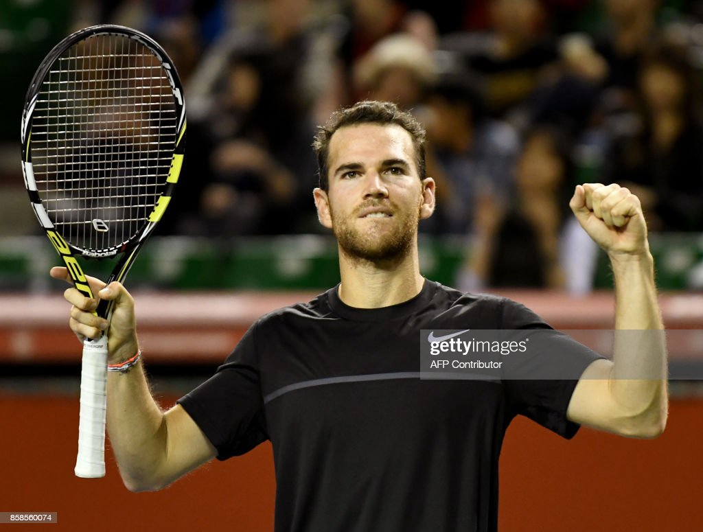 Adrian Mannarino of France reacts after defeating Marin Cilic of Croatia during their men's singles semi-final match of the Japan Open tennis tournament in Tokyo on October 7, 2017. / AFP PHOTO / Toru YAMANAKA