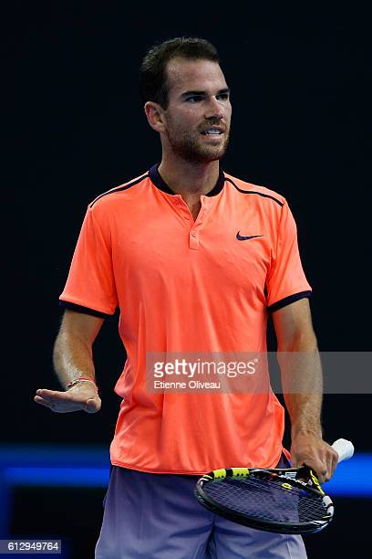 Adrian Mannarino of France reacts against Rafael Naldal of Spain during the Men's singles third round match on day six of the 2016 China Open at the...