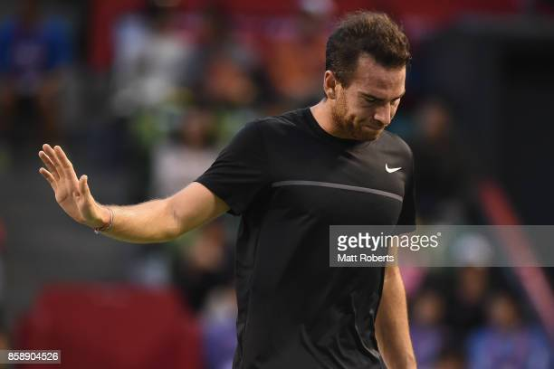 Adrian Mannarino of France reacts in his men's final match against David Goffin of Belgium during day seven of the Rakuten Open at Ariake Coliseum on...
