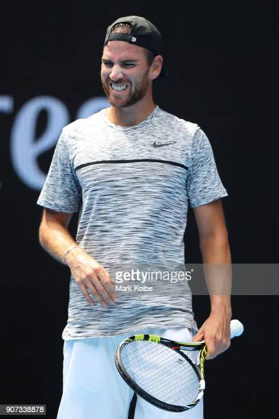 Adrian Mannarino of France reacts in his third round match against Dominic Thiem of Austria on day six of the 2018 Australian Open at Melbourne Park...