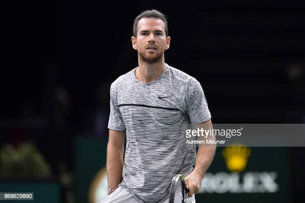 Adrian Mannarino of France reacts in the men's single first round match against David Ferrer of Spain during day two of the Rolex Paris Masters at...