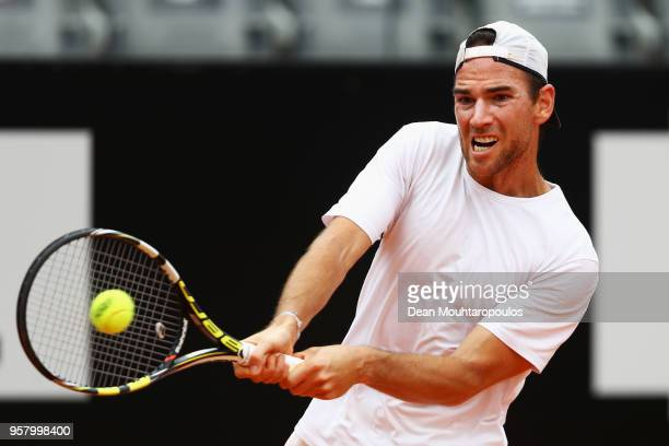 Adrian Mannarino of France returns a backhand in his match against Lorenzo Sonego of Italy during day one of the Internazionali BNL d'Italia 2018...