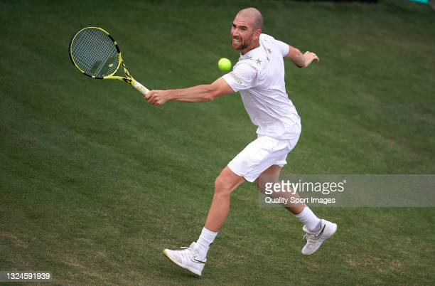 Adrian Mannarino of France returns a ball during his Round of 32 match against Jan-Lennard Struff of Germany on day two of the Mallorca Championships...