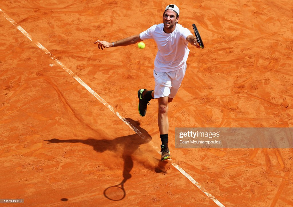 Adrian Mannarino of France returns a forehand in his match against Lorenzo Sonego of Italy during day one of the Internazionali BNL d'Italia 2018 tennis at Foro Italico on May 13, 2018 in Rome, Italy.