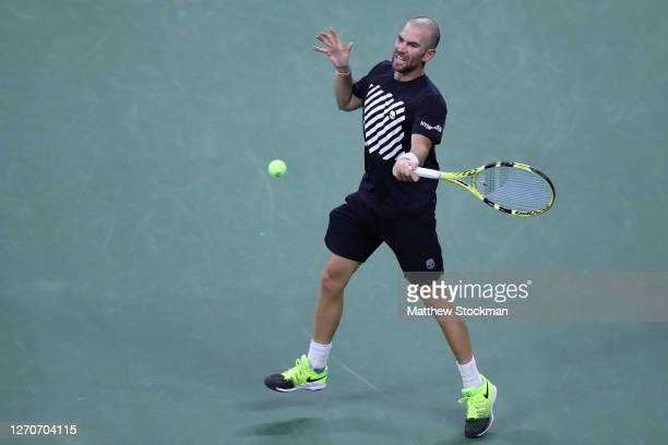 Adrian Mannarino of France returns a volley during his Men's Singles third round match against Alexander Zverev of Germany on Day Five of the 2020 US...