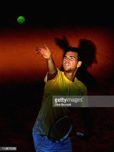 Adrian Mannarino of France serves during his first round match against Jarkko Nieminen of Finland during day two of the Internazoinali BNL D'Italia...