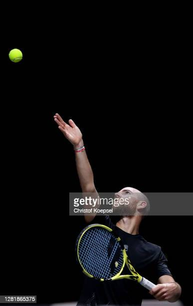 Adrian Mannarino of France serves during the match between Alexander Zverev of Germany and Adrian Mannarino of France of day five of the Bett1Hulks...