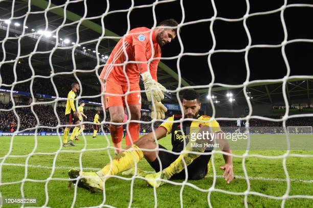Adrian Mariappa and Ben Foster of Watford react following an own goal during the Premier League match between Brighton & Hove Albion and Watford FC...